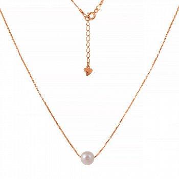 Срібне кольє з перлами і позолотою 000039614