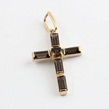 Золотой крест с раухтопазами Эстетика ар деко