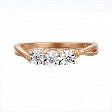 Кольцо Элиза из красного золота с бриллиантами