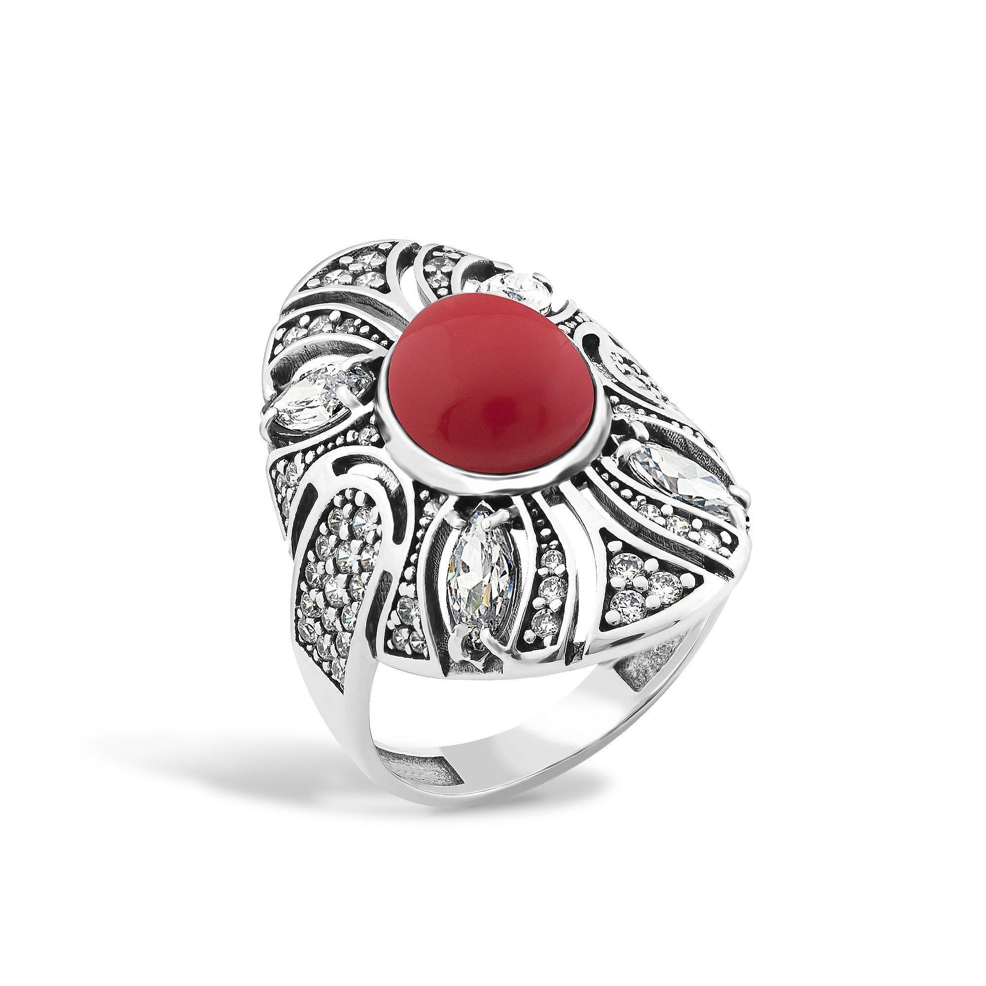 Серебряное кольцо Карима с имитацией коралла и фианитами