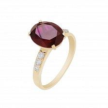 Кольцо в красном золоте Карина с гранатом и фианитами