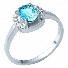 Серебряное кольцо Иллиана с синтезированным аквамарином и фианитами