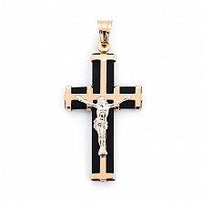 Крестик Небесный щит в комбинированном цвете золота с каучуком
