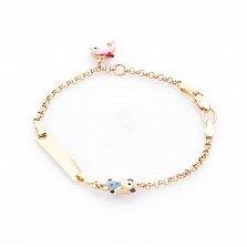Золотой браслет с цветной эмалью Мишка и дельфин