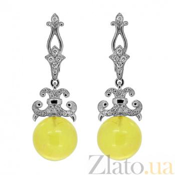 Серебряные серьги с цирконием и янтарём Карамель ZMX--ECzAmber-6957-Ag_K