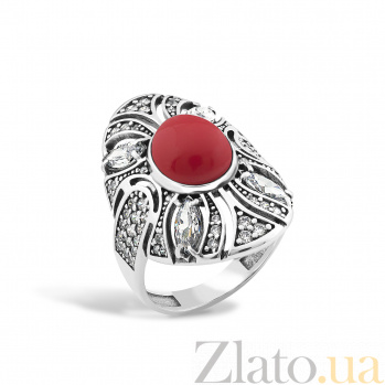 Серебряное кольцо Карима с имитацией коралла и фианитами 000098415