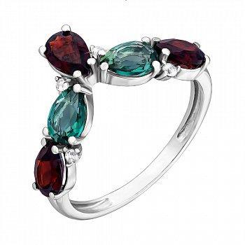 Серебряное кольцо с гранатом, зеленым кварцем и фианитами 000063339