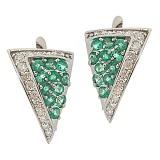 Серебряные серьги с бриллиантами и изумрудами Косынка