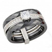 Серебряное кольцо Эльвира с черной керамикой и фианитами