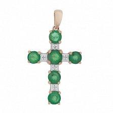 Золотой крестик Изабель с изумрудами и бриллиантами