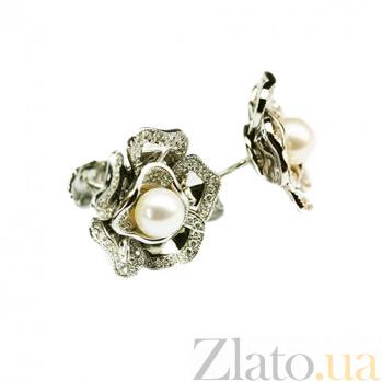 Золотые серьги с жемчугом и бриллиантами Магнолия 000026732