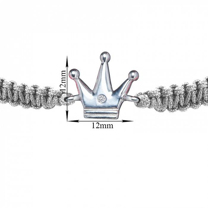 Серый плетеный браслет Волшебная страна с серебряной вставкой-короной и фианитом, 12х12мм 000080664