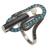 Серебряное кольцо Ночное рандеву Адрианна