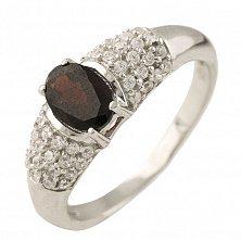 Серебряное кольцо Мадлен с гранатом и фианитами