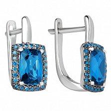 Золотые серьги Княгиня Ольга с лондон топазами и голубыми бриллиантами