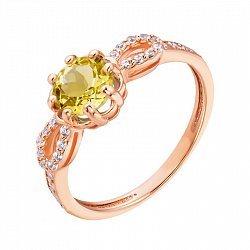 Кольцо из красного золота с цитрином и фианитами 000135538