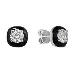 Серебряные серьги-пуссеты с черной эмалью и  фианитами 000100379