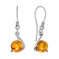 Серебряные серьги-подвески с янтарем 000146459