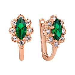 Золотые сережки в красном цвете Глория с зелеными и белыми фианитами