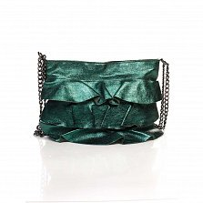 Кожаный клатч Genuine Leather 6504 бутылочного цвета с декоративными оборками и плечевым ремнем
