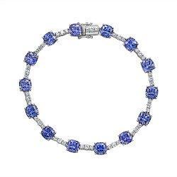 Серебряный браслет с синими и белыми фианитами 000136623