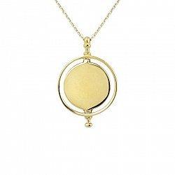 Колье Солнечный диск в желтом золоте 000115540