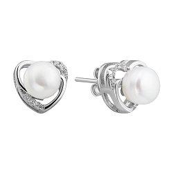 Серебряные серьги-пуссеты с жемчугом и фианитами 000132590