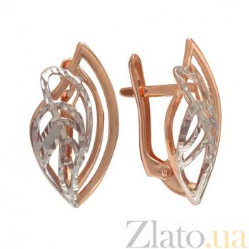 Золотые серьги с алмазной насечкой Осина TNG--400182