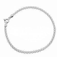 Серебряный браслет Калькутта с родием, 3 мм