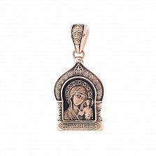 Золотая ладанка с чернением Казанская икона