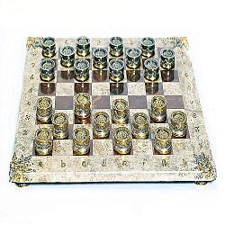 Серебряные шашки с яшмой, мрамором и  позолотой 000004355