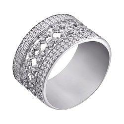 Серебряное кольцо Узорная лирика с фианитами
