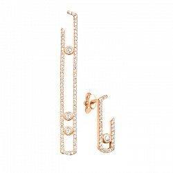 Золотые асимметричные серьги-пуссеты Скрепка в красном цвете с фианитами в стиле Мессика 000104032