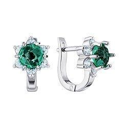 Серебряные серьги с зеленым синтезированным кварцем и фианитами 000149186