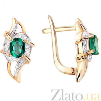 Золотые серьги с изумрудами и бриллиантами Селеста KBL--С2522/крас/изум