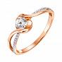 Золотое кольцо Шарлотта в комбинированном цвете с кристаллами Swarovski