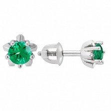 Серебряные серьги-пуссеты Тюльпанчик с зеленым цирконием