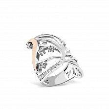Серебряное кольцо Беверли с золотой накладкой и цирконием