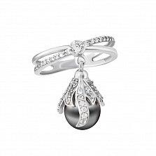 Серебряное кольцо с подвеской Лавиния с серым жемчугом и фианитами