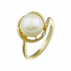 Кольцо из желтого золота с жемчугом и бриллиантами 000080965