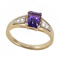 Золотое кольцо Тереза с синтезированным аметистом и фианитами