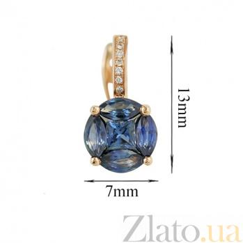 Золотые серьги с сапфирами и бриллиантами Морская мозаика 000026604