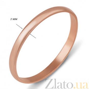 Кольцо обручальное из красного золота Классика 1001