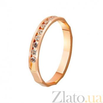 Золотое обручальное кольцо Грань любви с фианитами TRF--4121279