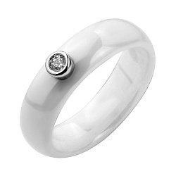 Кольцо из белой керамики и серебра с фианитом 000131765