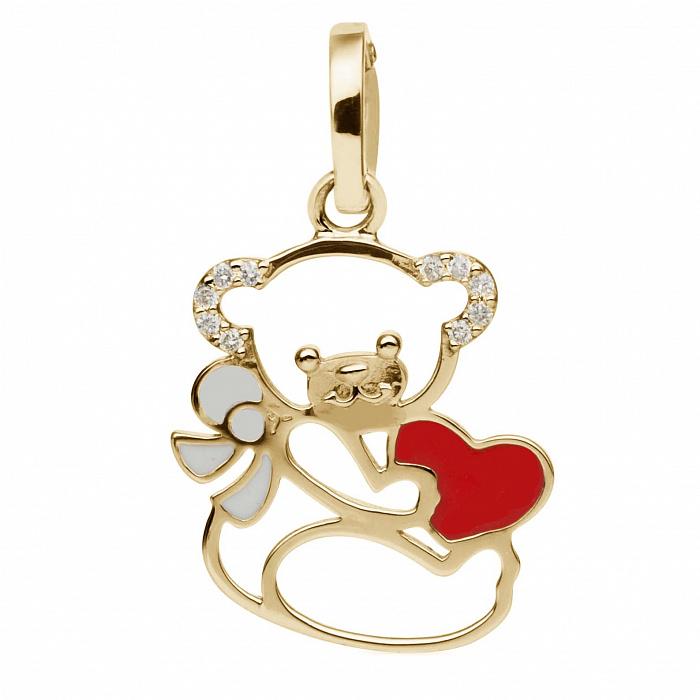 Золотой кулон с эмалью и бриллиантами Мишка с сердцем 000030470