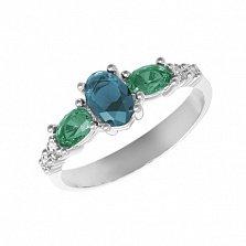 Серебряное кольцо Ундина с лондон кварцем, зеленым кварцем и фианитами
