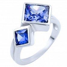 Серебряное кольцо Анвар с синтезированным танзанитом
