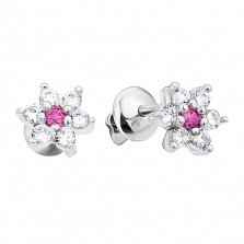 Серебряные серьги-пуссеты Ромашка с белыми и розовыми фианитами