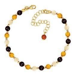 Серебряный позолоченный браслет с разноцветным янтарем 000137493